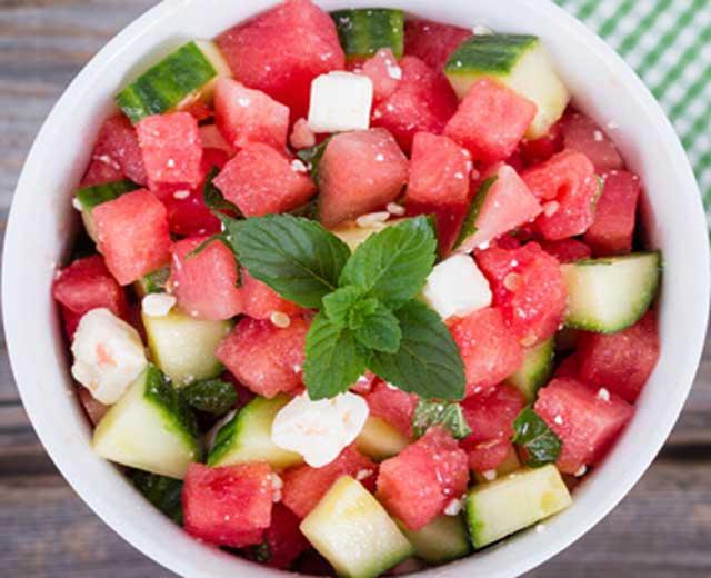 Salade pastèque concombre féta